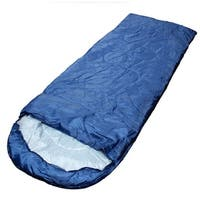 Adult Outdoor Hiking Camping Foldable Zipper Closure Sleeping Bag Navy Blue