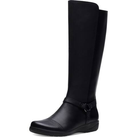Clarks Womens Cheyn Lindie Riding Boots Coated Leather Tall - Black Leather