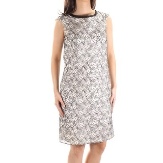 MAXMARA Womens New 1198 Ivory Black Floral Sleeveless Sheath Dress 4 B+B