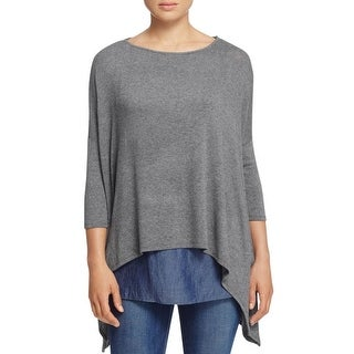 Red Haute Womens Casual Top Jersey Layered