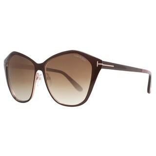 Tom Ford Lena TF 391 48F Dark Brown/Brown Gradient Women's Geometric Sunglasses - Dark brown - 58mm-13mm-140mm