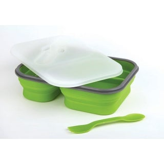 Lunch Kit, 2pc Meal Prep Containers Silicone Collapsible & Spork Utensil, Green
