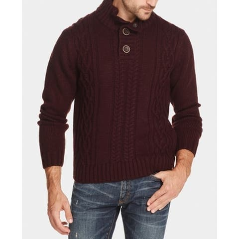 Weatherproof Mens Sweater Large Military Button Knit Pullover