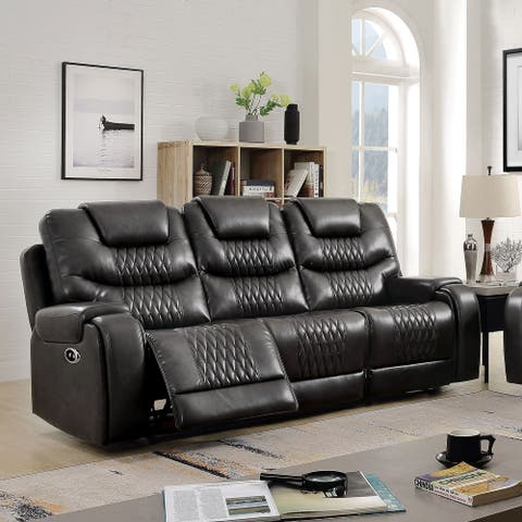 Furniture of America Baxe Transitional Faux Leather Reclining Sofa
