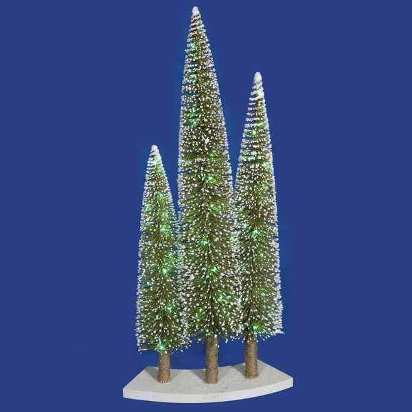 Pre-Lit LED Green & Gold Glitter Artificial Mini Village Christmas Tree Trio Set