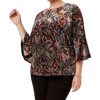 Kasper Brown Gold Womens Size 3X Plus Blush Velvet Paisley Blouse