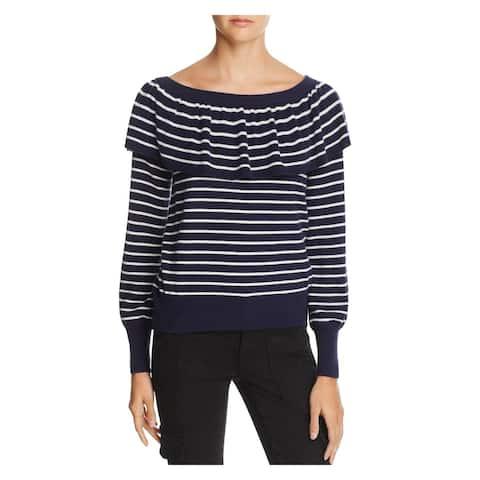 JOIE Womens Navy White Striped Drape Off Shoulder Ruffled Sweater 2XS
