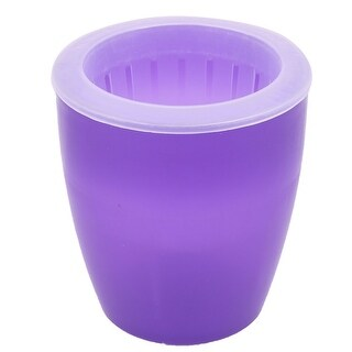 Home Yard Plastic Table Desk Ornament Flower Plant Pot Container Purple 13cm Dia