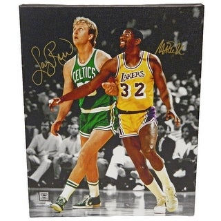Larry Bird  Magic Johnson Dual Celtics vs Lakers NBA Action Spotlight 16x20 Canvas