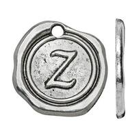 Lead-Free Pewter, Alphabet Charm Letter 'Z' 18.5x19.5mm, 1 Piece, Antiqued Silver