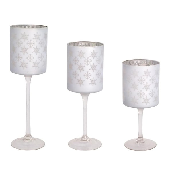 """Set of 3 Wintertime White Snowflake Designed Glass Candle Holder 14"""""""