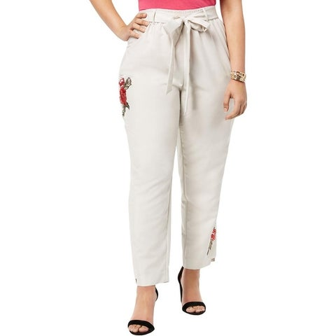 NY Collection Womens Plus Cropped Pants Embroidered Floral Print