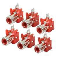 Unique Bargains AV Single Female Jack RCA Socket Connectors Red Silver Tone 6 Pcs