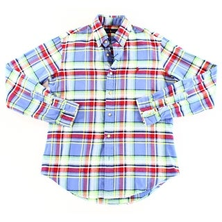 Ralph Lauren NEW Blue Mens Size Small S Plaid Button Down Shirt