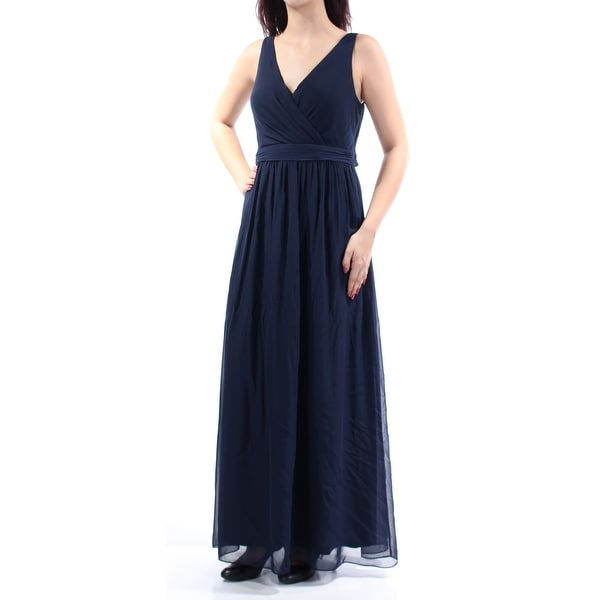 109bffc11c ADRIANNA PAPELL Womens Navy Pleated Sleeveless V Neck Maxi Empire Waist  Formal Dress Size: 10
