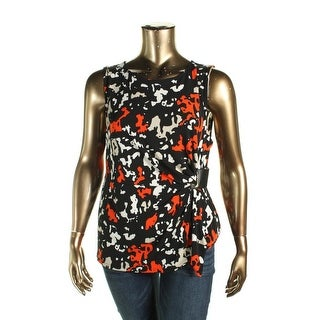 Calvin Klein Womens Casual Top Sleeveless Belted