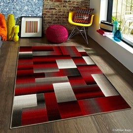 "Red Allstar Modern. Contemporary Woven Area Rug. Drop-Stitch Weave Technique. Carved Effect. Vivid Pop Colors (7' 10"" x 10')"