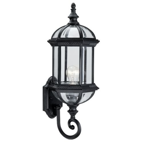 "DVI Lighting OCA140801 1 Light 8"" Wide Outdoor Wall Sconce from the Hexagon Collection - black with clear beveled glass"