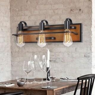 Industrial Wood and Iron 3-Light Bathroom Vanity Light