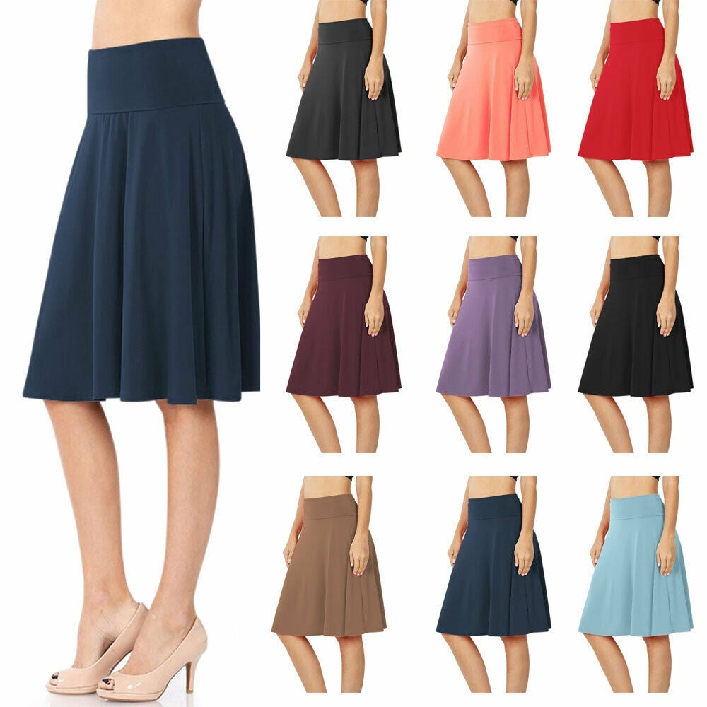 NioBe Clothing Womens High Waist Fold Over A-Line Flared Midi Swing Skirt