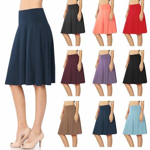 NioBe Clothing Womens High Waist Fold Over A-Line Flared Midi Swing Skirt