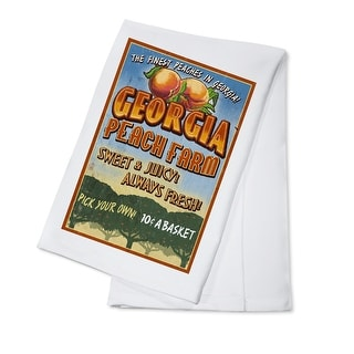 Georgia - Peach Farm Vintage Sign - Lantern Press Artwork (100% Cotton Towel Absorbent)