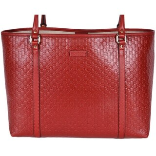 "Gucci 449647 Red Leather Micro GG Guccissima Joy Purse Handbag Tote - 16"" x 11"" x 6"""