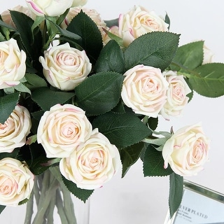 """FloralGoods Real Touch 2 Rose Bloom Short Stem in Pink White 15"""" Tall"""