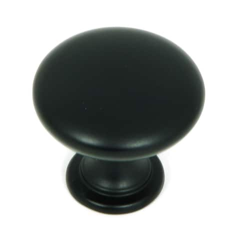 Stone Mill Hardware - Matte Black Round Cabinet Knobs (Pack of 5)