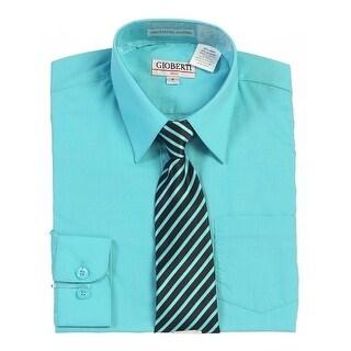 Boys Mint Button Up Dress Shirt Striped Tie Set 8-18