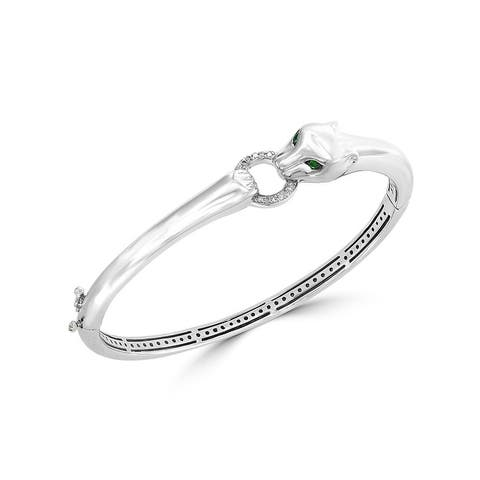 Effy Jewelry Diamond Panther Bangle with Tsavorite in 925 Sterling Silver, 0.10 TWC