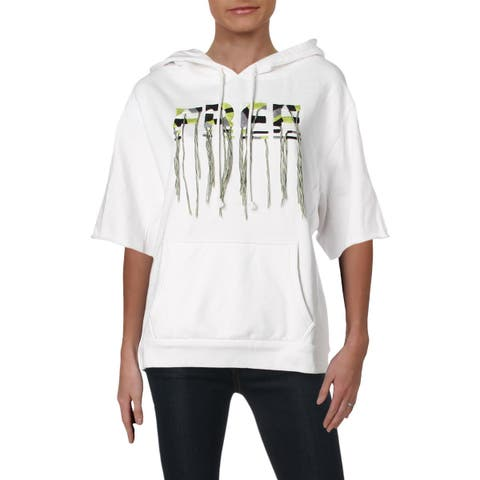 Free People Womens Freestyle Hoodie Fringe Graphic