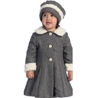 Angels Garment Toddler Little Girls Grey Fur Trim Coat Hat Set 2T-8