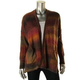 Kensie Womens Knit Ribbed Trim Cardigan Sweater - m/l