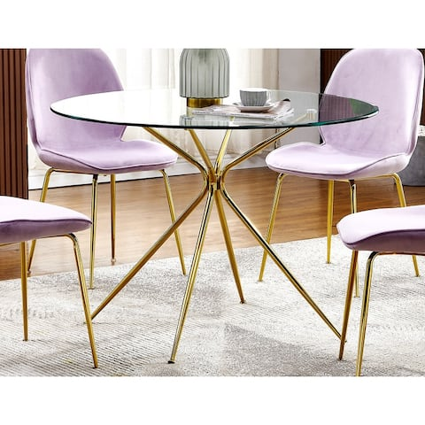Best Master Furniture 43 x 43 Gold Round Dining Table