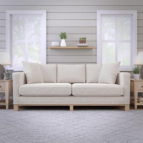 "Brookside Kay 84"" Two Cushion Track Arm Sofa with Wood Base"