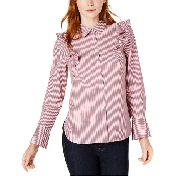 Tommy Hilfiger Womens Ruffle Button Up Shirt, Red, X-Large. Opens flyout.
