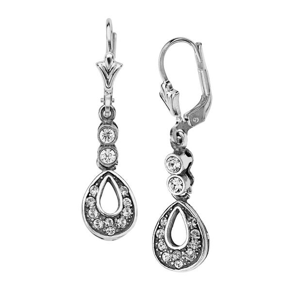 Van Kempen Art Nouveau Earrings with Swarovski Crystals in Sterling Silver - White