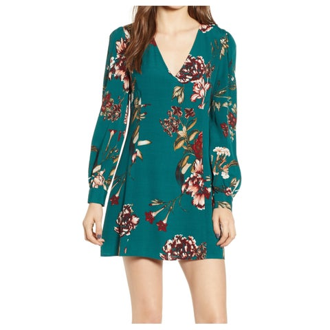 Leith Green Womens Size Large L V-Neck Floral-Print Sheath Dress