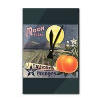 Moon Brand - CA - Citrus Crate - Vintage Label (Acrylic Wall Clock) - acrylic wall clock