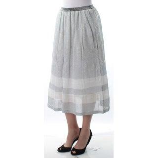 KIIND OF $89 Womens New 7722 Silver Glitter Tea-Length A-Line Casual Skirt S B+B