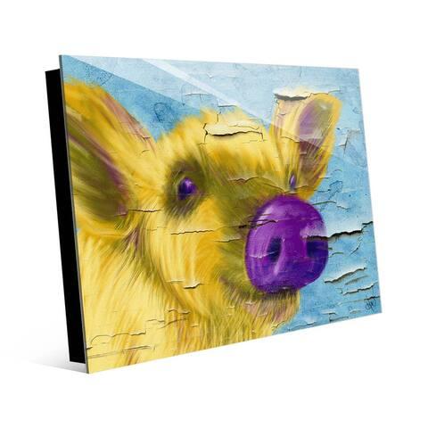 Kathy Ireland Purple Nosed Pig on Peeling Paint on Acrylic Wall Art Print
