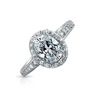 Bling Jewelry Sterling Silver Vintage Style 1.5ct Oval CZ Engagement Ring