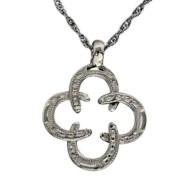 """Vogt Western Womens Necklace Intertwined Horseshoes 20"""" Silver 016-075"""