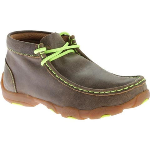 Twisted X Boots Children's YDM0011 Cowkid's Driving Moc Bomber/Neon Yellow
