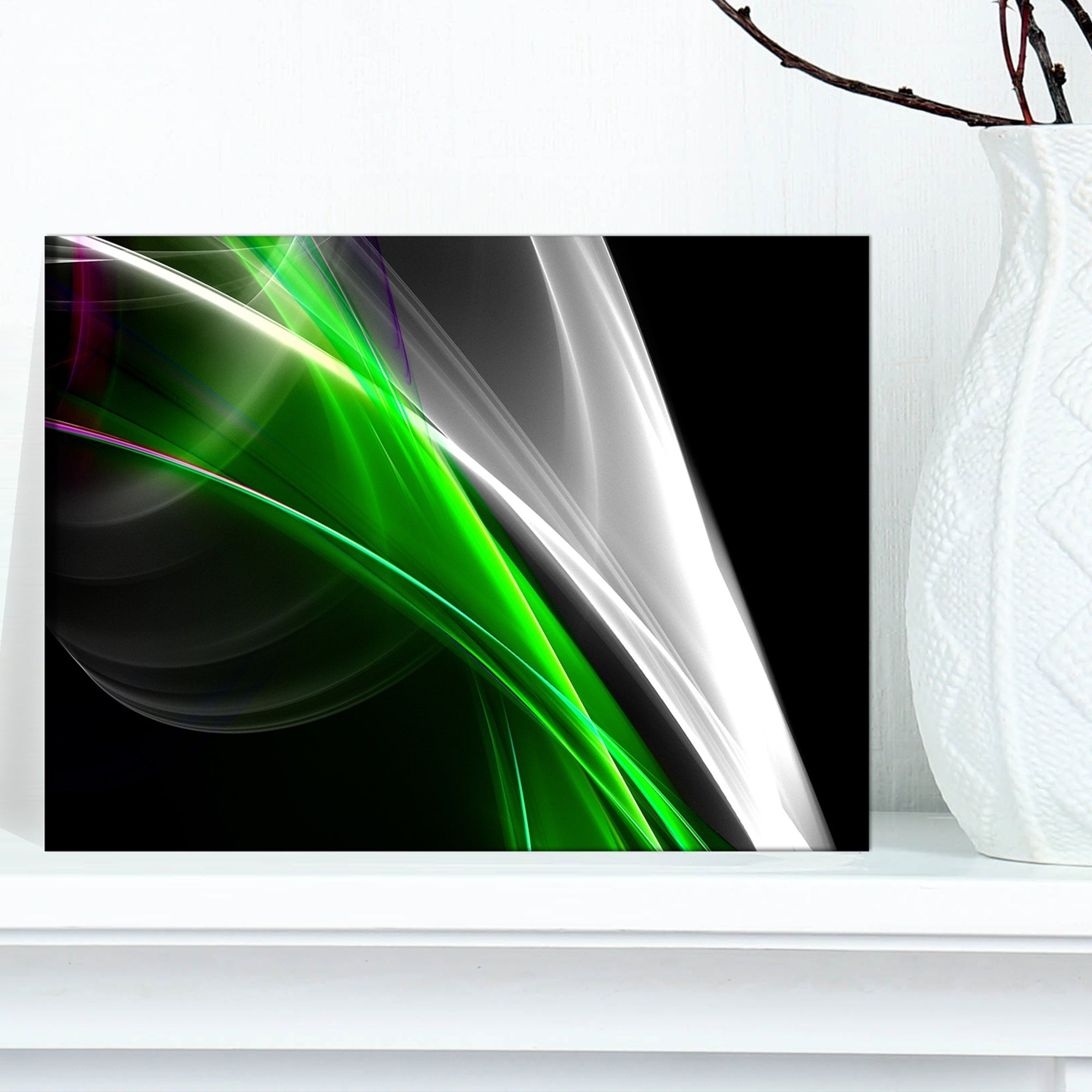 Designart Fractal Lines Green White Abstract Digital Art Canvas Print On Sale Overstock 11621327