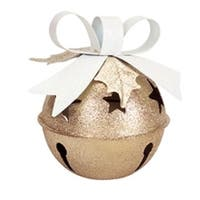 "7.5"" Glittered Gold Jingle Bell Tea Light Christmas Candle Holder with Bow"