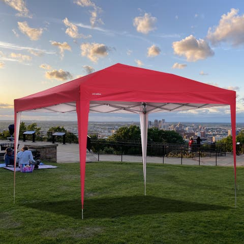 """Red Finish Flat top outdoor tent with roof without enclosure waterproof and UV resistant - 118.11""""x 118.11""""x 98.43""""INCH"""