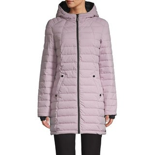 HFX Halifax Scuba Stretch Active Hooded Puffer Coat, Lilac/Charcoal