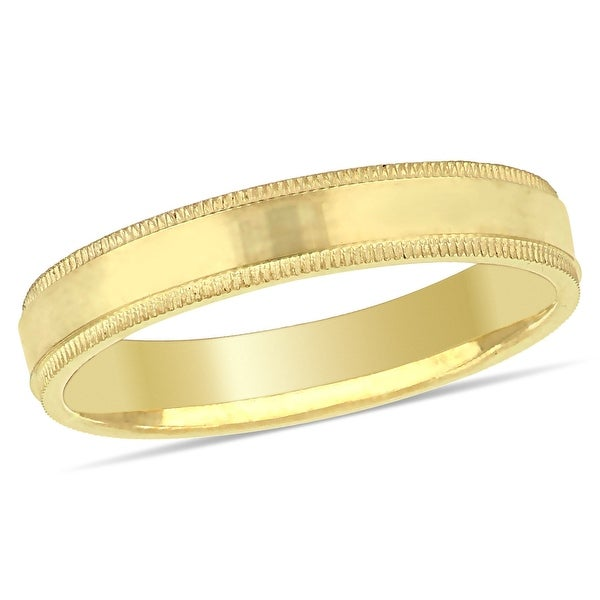 Miadora Ladies Fancy Textured Wedding Band in 10k Yellow Gold (3mm). Opens flyout.